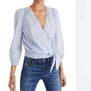 Madewell striped wrap top